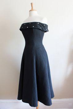 Vintage 1980s Does 1950s Black Off-The-Shoulder Rhinestone Collar Tea Length Dress