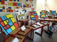 Tentoonstelling als afsluiting van een kunstproject......handig bij te kort aan muurruimte.