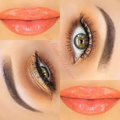Gold Sparkle Eyes with Orange Lips