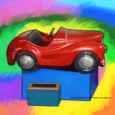 Red Car Coin Operated kiddie ride daily doodle pop art painting by Howie Green www.hgd.com