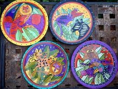 """1998 Laurel Burch Set of Four Collectible Plates 8"""" Snack Salad Size Brightly Color, Jungle Animal 90 Day Plan, Hacienda Style, Jungle Print, Laurel Burch, Jungle Animals, Spanish Style, North Africa, Metal Jewelry, Bright Colors"""
