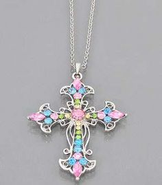 Cowgirl Bling Ranch, LLC - Fashion Cross Necklace Multi Colored, $9.99 (http://www.cowgirlblingranch.com/products/fashion-cross-necklace-multi-colored.html)