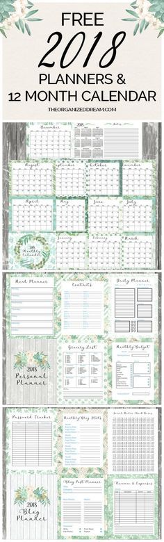Free 2018 blog planner and personal planner printables are now available. You can also grab our 12 month calendar as well!