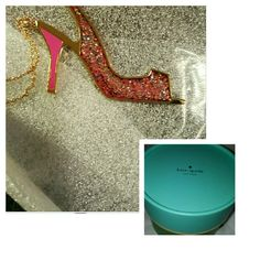HP NIB Kate Spade Sie in Glitter heel necklace Brand new 12 karat gold plated metal with enamel. Chain is 32 inches long and the weight is 15.76 grams period will come in Kate Spade box with Kate Spade dust bag. kate spade Jewelry Necklaces