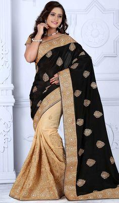 3e3e0cab2ea Black and Beige Color Georgette Half N Half Sari