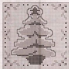 Red Tree * Chart – Tree = Red with Gold/Brown Branches, Pot together with the single outline around the whole tree. The colours are repeated in the border.