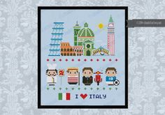 This is a super funny pattern for all the Italy lovers, featuring the icons characters and places: the Pisa Tower, the Colosseum, the Florence Cathedral Basilica of Saint Mary of the Flower with the Brunelleschi dome and Giottos Campanile and the the Rialto Bridge and the Saint Marco