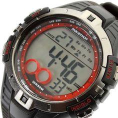 Timex T5K423 Men's Marathon Digital Indiglo Night Light Brown Accents Rubber Strap Watch