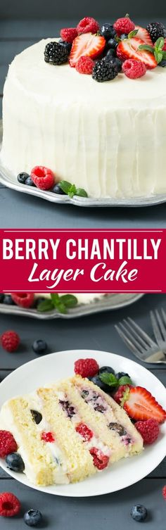 This recipe for berry chantilly cake is a light and tender yellow cake with plenty of fresh berries and a fluffy melt-in-your-mouth frosting. The perfect cake for a celebration! (Baking Cookies And Shit) Chantilly Cake Recipe, Berry Chantilly Cake, Chantilly Cream, Just Desserts, Delicious Desserts, Dessert Recipes, Yummy Food, Summer Cake Recipes, Best Cake Recipes