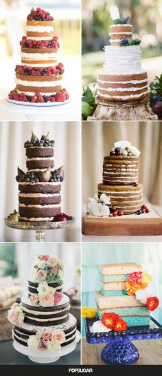Why am I so in love with the naked cakes! - Gone are the days when hot Summer weather makes icing drip down your wedding cake! Naked cakes — the trendy cakes that are mostly unfrosted — are Décoration Candy Bar, Cake Candy, Cake Pops Brownie, Brownie Wedding Cakes, Beautiful Cakes, Amazing Cakes, Cake Cookies, Cupcake Cakes, Cupcakes