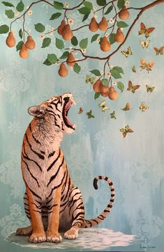 The Pear Tree Oil and Acrylic on Canvas inches Tiger Heather Gauthier - Anthropomorphic Realism Original Paintings Gallery Orange Owsla Wallpaper, Art Sketches, Art Drawings, Psychedelic Art, Wow Art, Painting Gallery, Jolie Photo, Aesthetic Art, Art Inspo