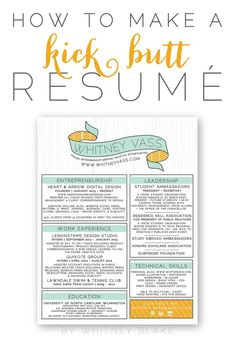 Greatness all around on this resume design!! Color scheme, design, whimsy, feminity ... Whitney Blake // How To: Make A Kick Butt Resumé