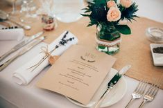 Kraft Paper Menu Card | DIY Village Hall Wedding | High Street M&S Suit & ASOS Bridesmaid Dresses | Budget Wedding | Anne Schwarz Photography | http://www.rockmywedding.co.uk/clare-chris/