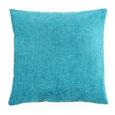 Large Chenille Turquoise Cushion   Dunelm