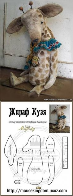 Amazing Home Sewing Crafts Ideas. Incredible Home Sewing Crafts Ideas. Sewing Stuffed Animals, Stuffed Animal Patterns, Fabric Animals, Crochet Animals, Crochet Toys, Giraffe Pattern, Bear Doll, Sewing Toys, Diy Doll