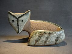 vintage Lisa Larsson Gustavsberg Sweden pottery fox figurine.