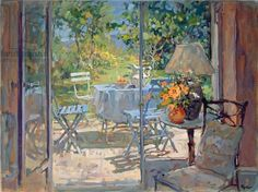 Susan Ryder.  Provence Terrace (oil on canvas)