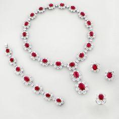 Jewellery   Chatila Diamond & Ruby Necklace, Bracelet, Earrings & Ring