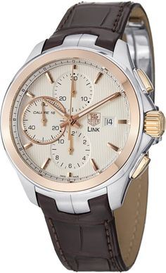 men's watches Tag Heuer Link Silver Dial Chronograph 18kt Rose Gold Steel Brown Leather Mens Watch CAT2050FC6322