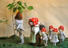 Waldorf inspired needle felted mushroom-dolls: The forest family (by Elsa Beskow)
