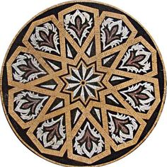 Our Durrah Ivory geometric mosaic pattern makes an impact as a kitchen backsplash countertop or decorative tile flooring. This medallion stone mosaic showcases a pleated starflower center and red lilies in red black and ivory/pink marble tiles. A mesh backing makes placement a breeze.