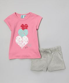 Another great find on #zulily! Pink Heart Tee  Gray Shorts - Toddler  Girls #zulilyfinds