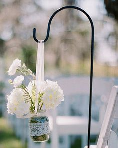 Hang your mason jars, tissue pom poms and baskets anywhere! These metal shepherd hooks stand 30 tall, (27 after inserted into the ground) and are perfect for placing decorations around the ceremony and or reception site. Just push the base into the ground and hang your decorations from the hook. *****Decorations are not included***** This item ships USPS Priority Mail. Excluding processing time, this items usually arrives within 1-3 business days.
