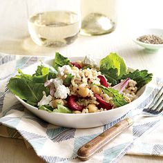 Kale, Quinoa, and Cherry Salad | CookingLight.com #myplate #veggies #fruit #wholegrains #dairy