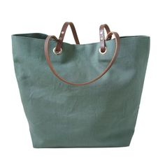 Linen And Leather Tote Jade