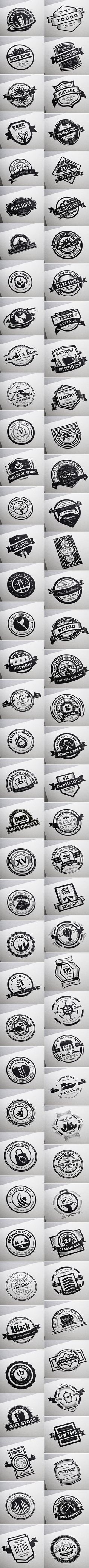 80 Vintage Labels & Badges Logos - Premium Bundle by Think Big Design, via Behance