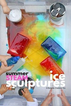 Melting Ice Experiment: Melt ice using salt and warm water to create ice sculptures. Perfect summer STEAM activity for kids of all ages! School Age Activities, Summer Camp Activities, Steam Activities, Color Activities, Fun Activities For Kids, Preschool Activities, Indoor Activities, Family Activities, Stem Projects