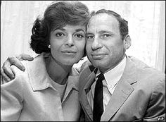 """Anne Bancroft and Mel Brooks She won: Best Actress in 1963 for playing Helen Keller's teacher in """"The Miracle Worker."""" She won a Tony Award for Best Actress for the same role in Celebrity Couples, Celebrity Weddings, Celebrity Pics, Classic Hollywood, Old Hollywood, Hollywood Style, Anthony Hopkins Movies, Anne Bancroft, Another Love"""
