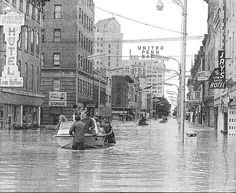 Flood of 1972, Wilkes Barre, PA. The waters also did heavy damage to Wilkes College (now Wilkes University) buildings, just as one of their professors had warned before they built the new library.