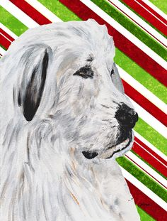 Great Pyrenees Candy Cane Christmas House Vertical Flag