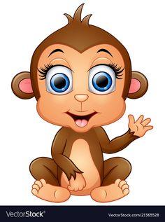 Happy monkey cartoon waving hand vector image on VectorStock Cartoon Monkey, Cute Cartoon Animals, Cute Animals, Baby Animal Drawings, Cartoon Drawings, Cartoon Rooster, Monkey Drawing, Happy Cartoon, Baby Clip Art