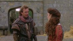 From Robin Hood: Prince of Thieves . Mostly a focus on Lady Marian's gowns and the lovely forest wedding scene. Wedding Scene, Forest Wedding, Michael Wincott, Brian Blessed, Christian Slater, Morgan Freeman, Kevin Costner, Outlaw Queen, Alan Rickman