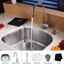 """$399.95 View the Kraus KBU10-KPF1622-KSD30 23-1/4"""" Undermount Single Bowl 16 Gauge Stainless Steel Kitchen Sink with Pullout Spray Kitchen Faucet and Soap Dispenser at FaucetDirect.com."""