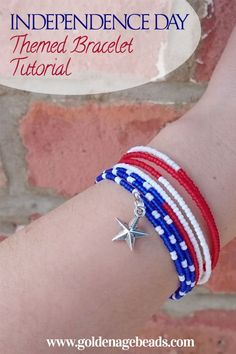 DIY Independence Day Themed Bracelet Tutorial – get ready for July celebrations with this awesome DIY bracelet! DIY Independence Day Themed Bracelet Tutorial – get ready for July celebrations with this awesome DIY bracelet! Memory Wire Jewelry, Memory Wire Bracelets, Seed Bead Bracelets, Seed Beads, Black Bracelets, Bead Earrings, Friendship Bracelets, Bangles, Jewelry Patterns