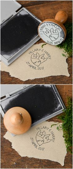 Wooden Wedding Stamp with Foxes