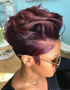 2018 Winter Hair Color Ideas for Black Women. Bold and Vibrant hair color shades for the winter 2018 season. This winter it's time to break free from mundane hair shades of black and brown an… color ideas for black women Hair Color Shades, Hair Color Purple, Short Hair Colors, Plum Purple, Curly Hair Styles, Natural Hair Styles, Short Hair Styles Shaved, Sassy Hair, Big Hair