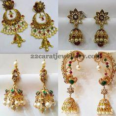 Jewellery Designs: Antique Kundan Peacock Jhumkas Collection