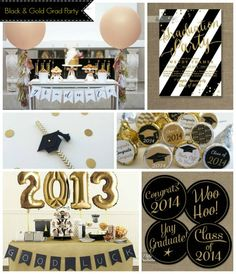 We Have Rounded Up Some Seriously Lovely Details From Invitations To Favors For You To Throw A Fabulous Black And Gold Graduation Party! College Graduation Parties, Graduation 2016, Graduation Celebration, Graduation Decorations, Graduation Party Decor, Grad Parties, Graduation Ideas, Banquet, Festa Party
