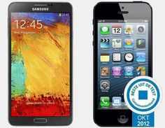 Vergelijking Samsung Galaxy Note 3 vs Apple iPhone 5 64GB | Versus OS