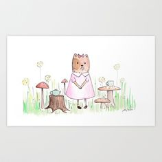No One Joined Gertie for Tea Art Print by whereismouse