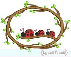 Ladybug Branch Frame Applique - 5 Sizes! | Featured Products | Machine Embroidery Designs | SWAKembroidery.com