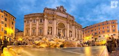 The sun sets on Rome's Trevi Fountain. This and dawn are the best time to visit.