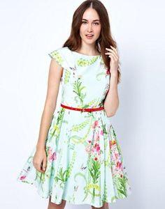 Vestido con falda de corte amplio y estampado floral estilo papel tapiz de Ted Baker