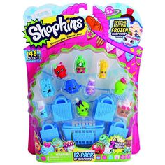Shop away with the Shopkins™ 12 Pack! Collect all of the super-cute Shopkins™ characters and you might be lucky enough to find some rare characters too! Includes 12 Shopkins™, 1 shopping basket, 4 shopping bags and a collector's guide. Collect them all! Shopkins Season 6, Shopkins Queen, Shopkins Gifts, Play Grocery Store, Shopkins Characters, Cool Cube, Ri Happy, Moose Toys, Furniture