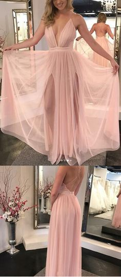 Elegant A-Line Deep V-Neck Sleeveless Pink Floor Length Prom/Evening Dress+#promdresses #longpromdresses #pinkpromdresses #2018promdresses