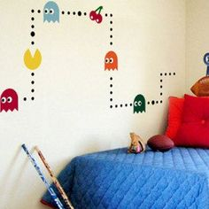 Pacman Game Mural Art Wall Stickers Vinyl Decal Home Kids Room Decor on PopScreen Mural Art, Wall Murals, Boy Room, Kids Room, Child's Room, Gamer Bedroom, Vinyl Wall Art, Vinyl Decals, Diy Room Decor